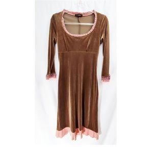 BETSEY JOHNSON Vtg 90s Velvet Ruffle Trim Dress